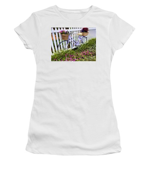 Purple Bicycle And Flowers Women's T-Shirt (Athletic Fit)