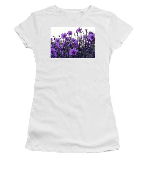 Women's T-Shirt (Junior Cut) featuring the photograph Purple Flowers Dance by Jasna Gopic