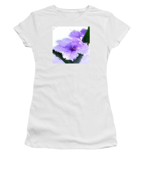 Women's T-Shirt (Junior Cut) featuring the digital art Purple Petunia by Anthony Fishburne