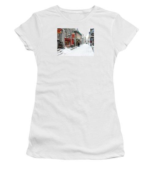 Quebec City In Winter Women's T-Shirt (Junior Cut) by Thomas R Fletcher