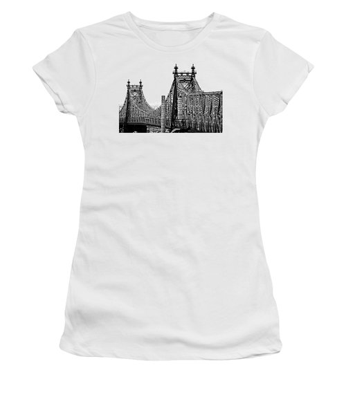 Queensborough Or 59th Street Bridge Women's T-Shirt (Junior Cut) by Steve Archbold