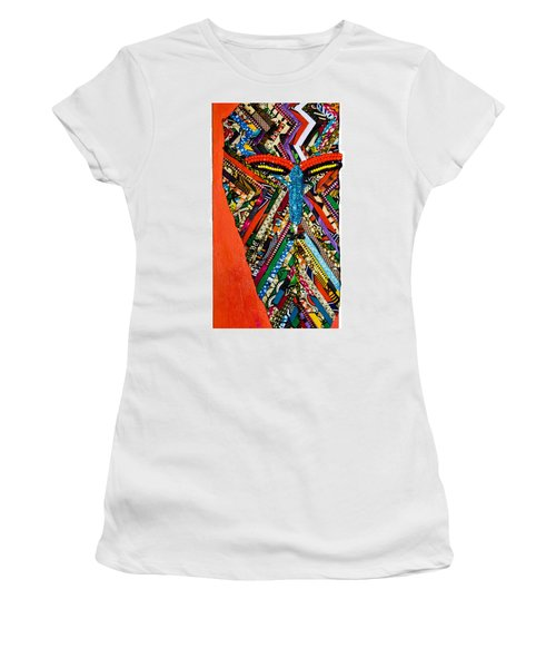 Women's T-Shirt (Junior Cut) featuring the tapestry - textile Quilted Warrior by Apanaki Temitayo M