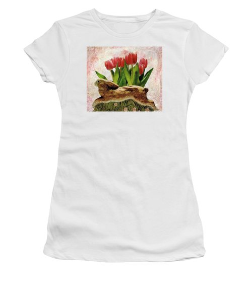 Rabbit And Pink Tulips Women's T-Shirt (Athletic Fit)