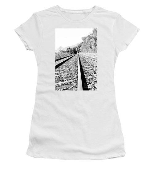 Women's T-Shirt (Junior Cut) featuring the photograph Railroad Track by Joe  Ng