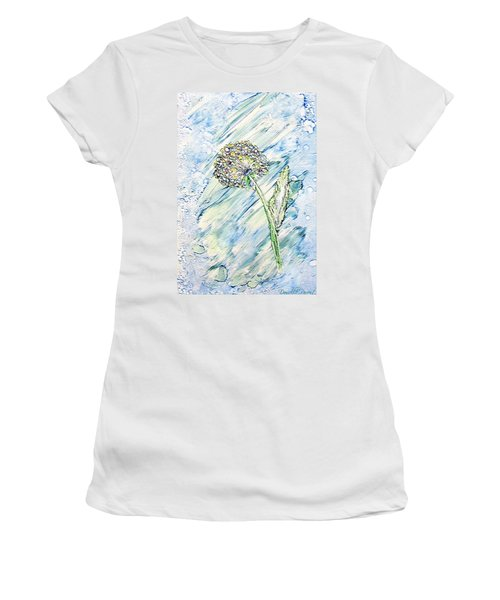 Rainbow And Blue Dandelion Alcohol Inks  Women's T-Shirt