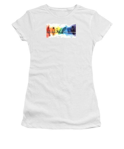 Rainbow Birds Women's T-Shirt (Junior Cut) by Antony Galbraith