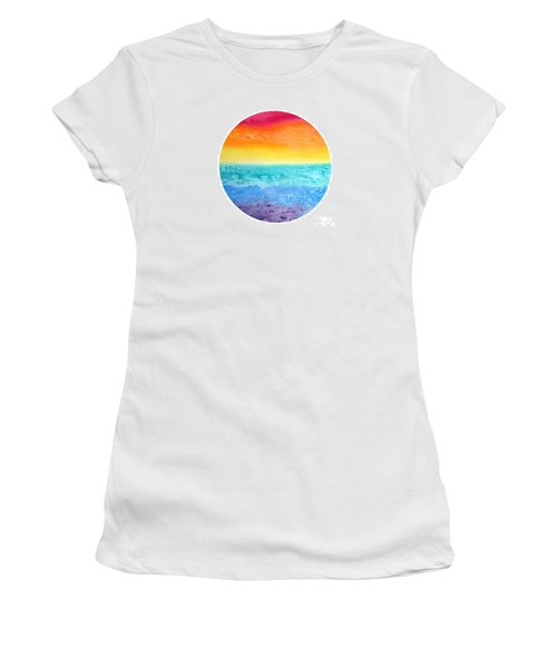 Women's T-Shirt (Junior Cut) featuring the painting Rainbow Landscape  by Susan  Dimitrakopoulos