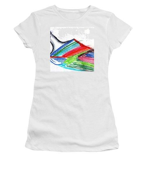 Rainbow Paintbrush Women's T-Shirt (Junior Cut) by Dan Twyman