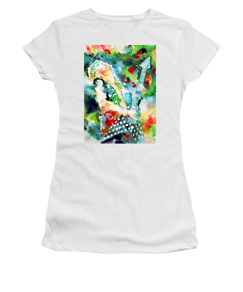 Randy Rhoads Playing The Guitar - Watercolor Portrait Women's T-Shirt (Athletic Fit)