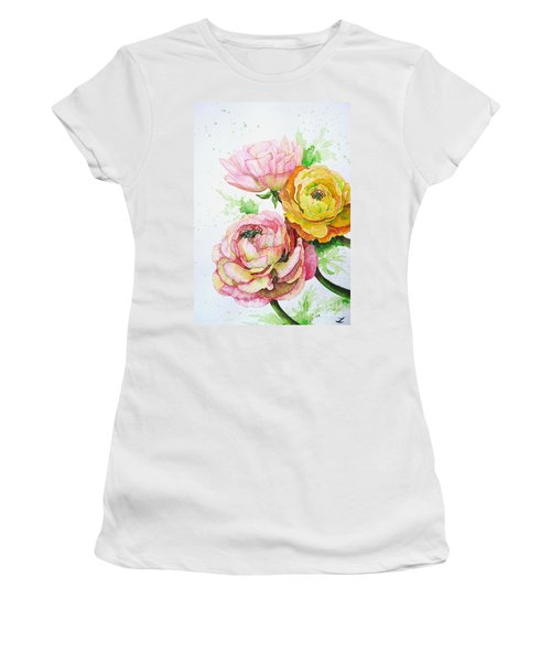 Ranunculus Flowers Women's T-Shirt (Junior Cut) by Zaira Dzhaubaeva