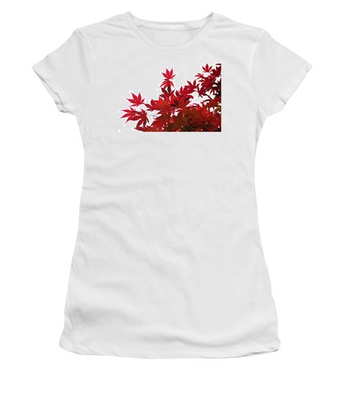 Red And White Women's T-Shirt (Junior Cut) by Debra Martz