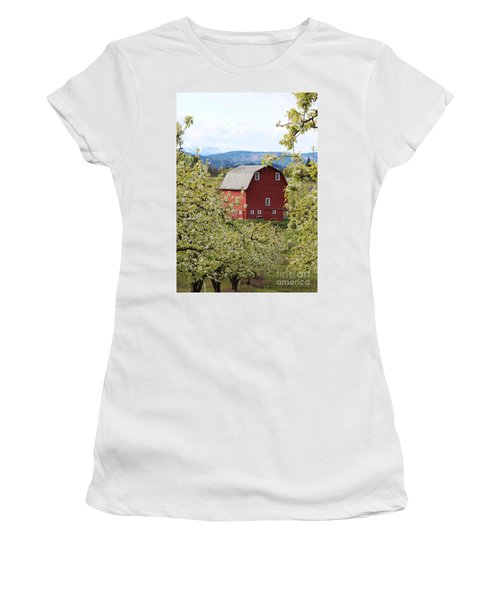 Women's T-Shirt (Junior Cut) featuring the photograph Red Barn And Apple Blossoms by Patricia Babbitt