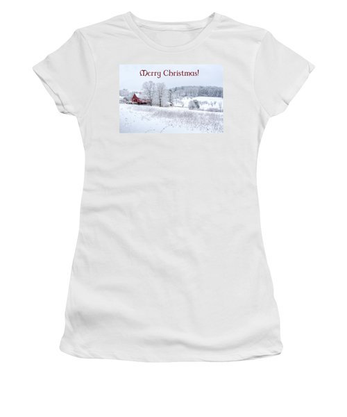 Red Barn Christmas Card Women's T-Shirt (Athletic Fit)
