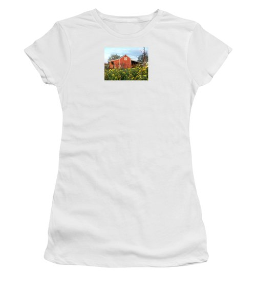 Red Barn With Wild Sunflowers Women's T-Shirt (Junior Cut) by Susan Williams