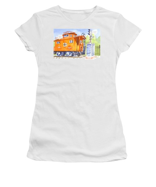 Red Caboose With Signal  Women's T-Shirt