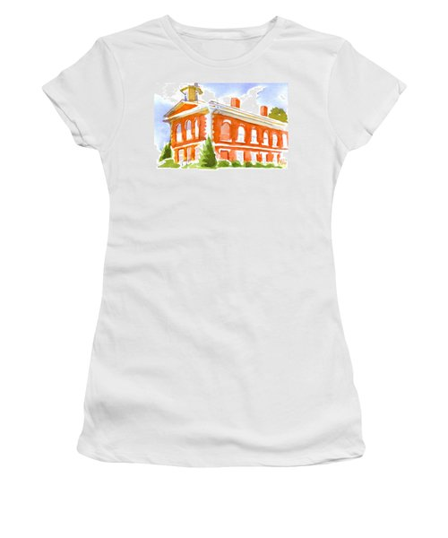 Red Courthouse With Evergreen Women's T-Shirt