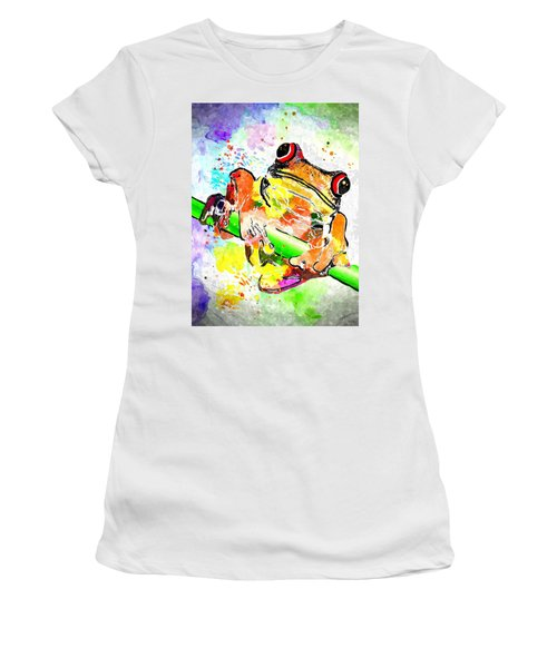 Red Eyed Tree Frog Grunge Women's T-Shirt (Athletic Fit)
