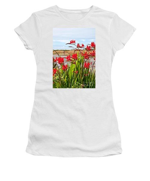 Red Flowers Crocosmia Lucifer Montbretia Plant Art Prints Women's T-Shirt (Junior Cut) by Valerie Garner