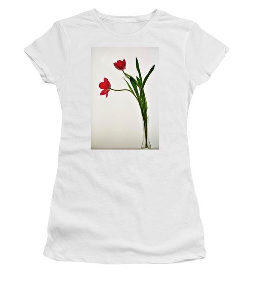 Red Flowers In Glass Vase Women's T-Shirt