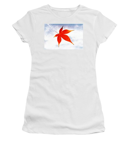 Red Maple Leaf Against White Background Women's T-Shirt
