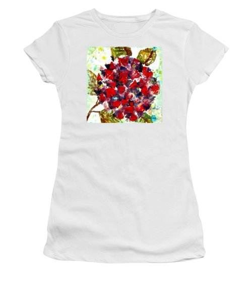 Women's T-Shirt (Junior Cut) featuring the painting Red Purple Flower by Joan Reese