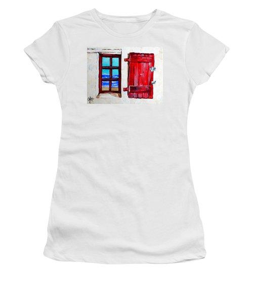 Red Shutter Ocean Women's T-Shirt (Junior Cut) by Jackie Carpenter
