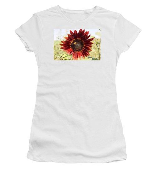 Red Sunflower And Bee Women's T-Shirt (Athletic Fit)