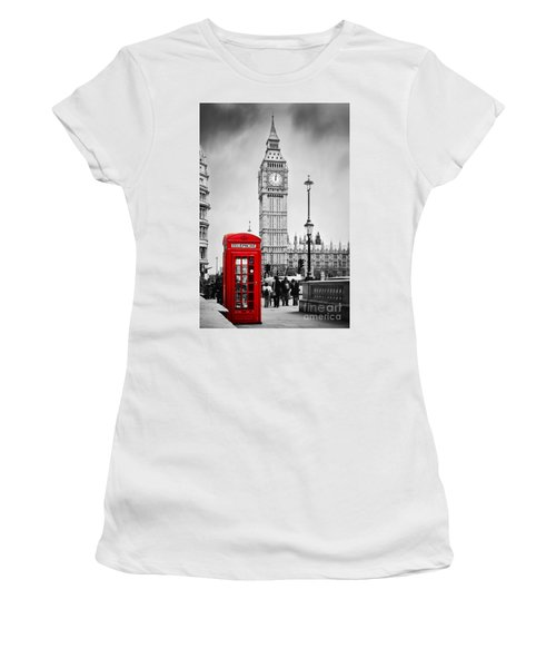 Red Telephone Booth And Big Ben In London Women's T-Shirt (Athletic Fit)