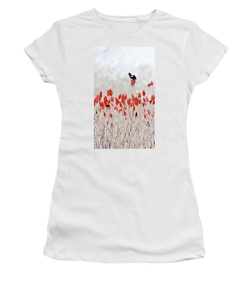 Red Winged Blackbird On Sumac Women's T-Shirt (Athletic Fit)