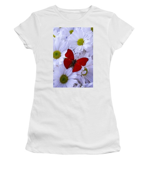 Red Wings On White Daises Women's T-Shirt