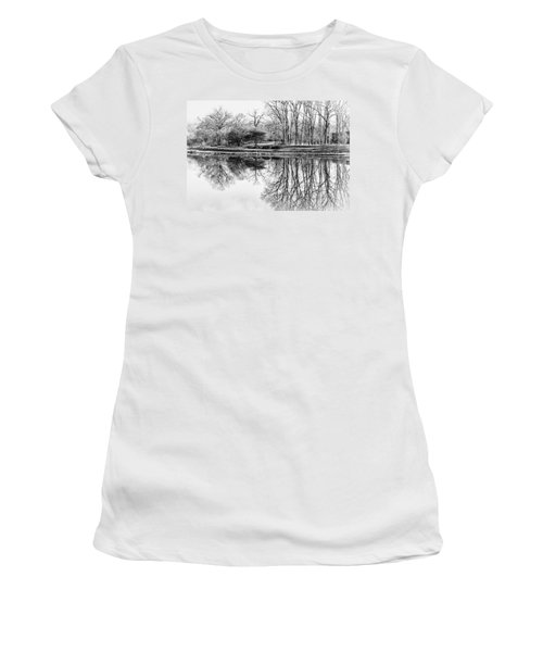 Reflection In Black And White Women's T-Shirt (Junior Cut) by Julie Palencia