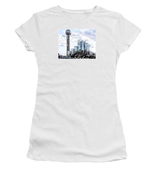 Women's T-Shirt (Junior Cut) featuring the photograph Reunion Tower Dallas Texas by Kathy Churchman