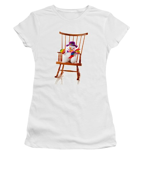 Women's T-Shirt (Junior Cut) featuring the photograph Happy Snowman Sitting In A Rocking Chair  by Vizual Studio