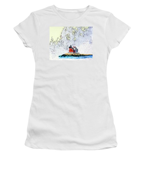Rockland Breakwater Light Women's T-Shirt (Junior Cut) by Mike Robles