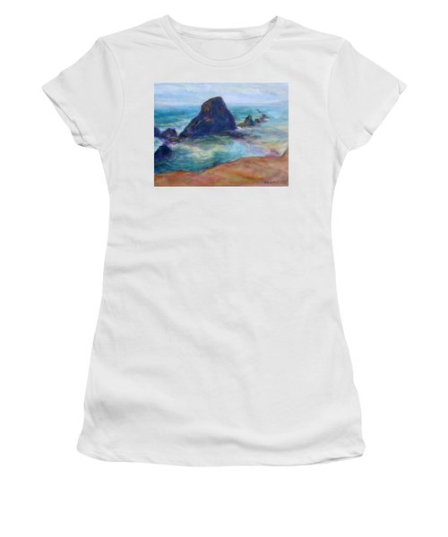 Rocks Heading North - Scenic Landscape Seascape Painting Women's T-Shirt