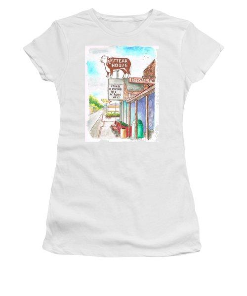 Rod's Steak House In Route 66 - Williams - Arizona Women's T-Shirt (Junior Cut) by Carlos G Groppa