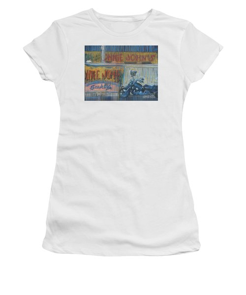 Women's T-Shirt (Junior Cut) featuring the painting Ronnie's Bike by Donald Maier