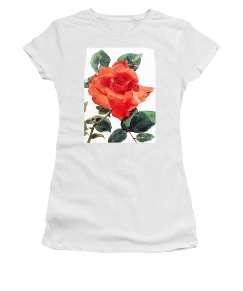 Watercolor Of A Single Red Rose I Call Red Rose Filip Women's T-Shirt
