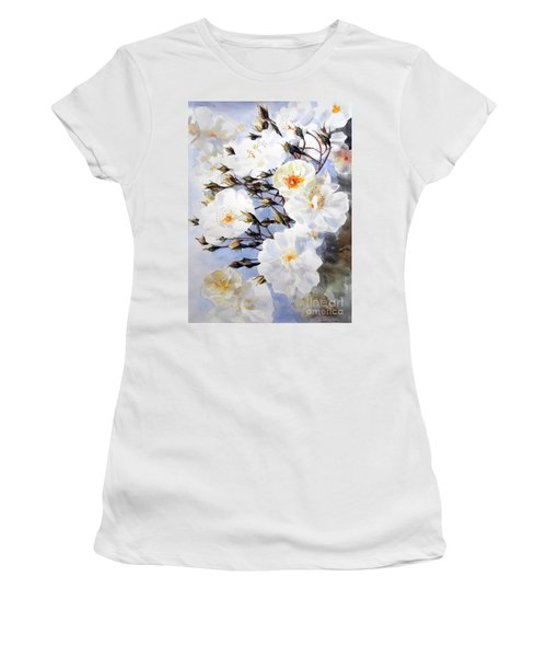 Wartercolor Of White Roses On A Branch I Call Rose Tchaikovsky Women's T-Shirt (Athletic Fit)