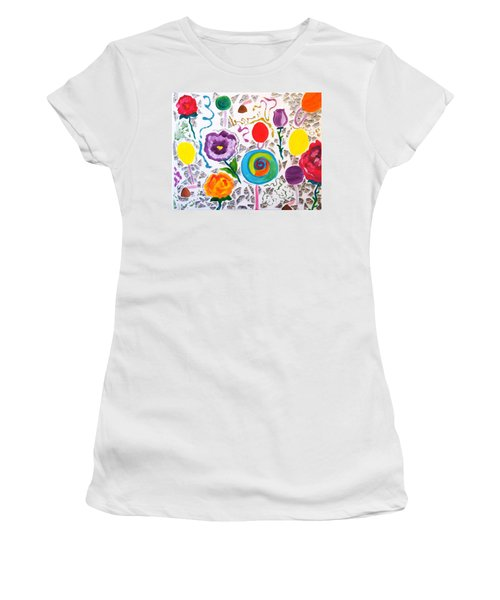 Roses And Lollipops For Mom Women's T-Shirt (Junior Cut) by Meryl Goudey