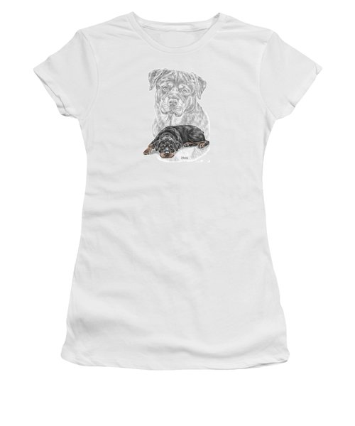 Rottie Charm - Rottweiler Dog Print With Color Women's T-Shirt (Athletic Fit)