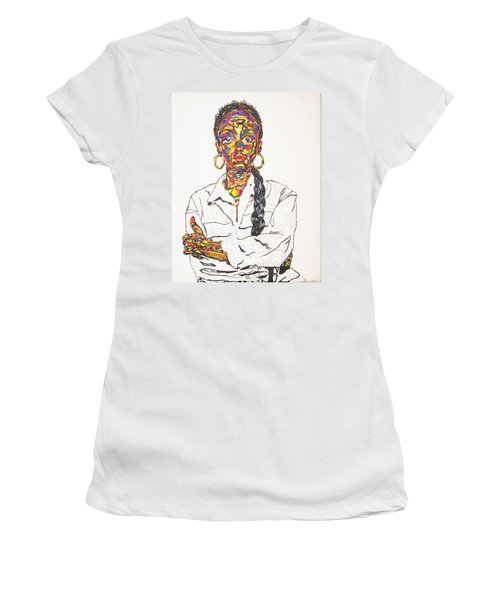 Women's T-Shirt (Junior Cut) featuring the painting Abstract Sade  by Stormm Bradshaw