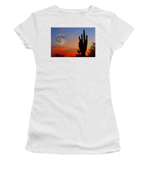 Saguaro Full Moon Sunset Women's T-Shirt (Athletic Fit)