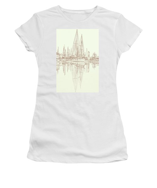 Women's T-Shirt (Junior Cut) featuring the photograph Sailboat On Liberty Bay by Greg Reed