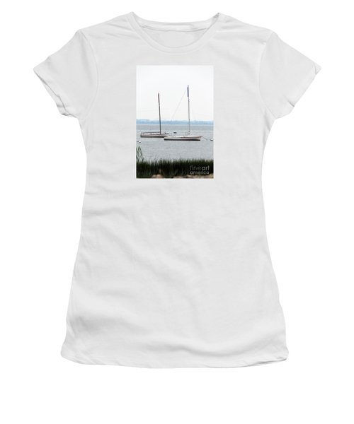 Women's T-Shirt (Junior Cut) featuring the photograph Sailboats In Battery Park Harbor by David Jackson