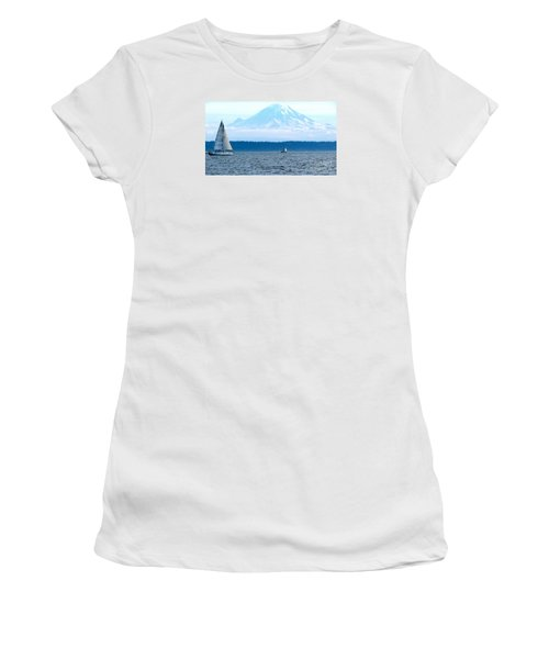 Sailing In Mt. Rainier's Shadow Women's T-Shirt (Athletic Fit)