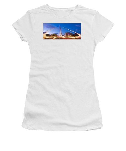 Women's T-Shirt featuring the photograph Samuel Beckett Bridge And National Conference Centre / Dublin by Barry O Carroll