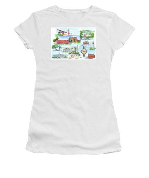 San Francisco Highlights Montage Women's T-Shirt (Junior Cut) by Mike Robles