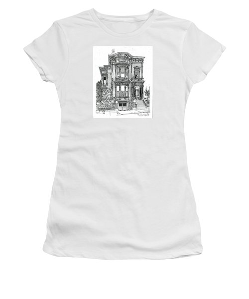 Women's T-Shirt (Junior Cut) featuring the drawing San Francisco Victorian   by Ira Shander
