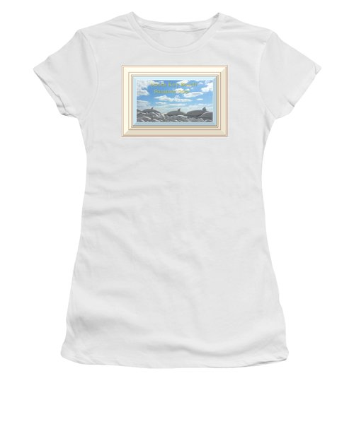 Sand Dolphins - Digitally Framed Women's T-Shirt